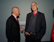 Lord Foster and Richard Long, Opening of Blood on Paper: the art of the Book. V & A. Museum. London. 14 April 2008. Afterwards there was a dinner hosted by Lady Foster.  *** Local Caption *** -DO NOT ARCHIVE-© Copyright Photograph by Dafydd Jones. 248 Clapham Rd. London SW9 0PZ. Tel 0207 820 0771. www.dafjones.com.