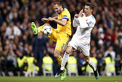(l-r) Giorgio Chiellini of Juventus FC, Cristiano Ronaldo of Real Madrid during the UEFA Champions League quarter final match between Real Madrid and Juventus FC at the Santiago Bernabeu stadium on April 11, 2018 in Madrid, Spain