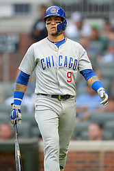 May 15, 2018 - Atlanta, GA, U.S. - ATLANTA, GA Ð MAY 15:  Cubs infielder Javier Baez (9) walks back to the dugout after striking out during the game between Atlanta and Chicago on May 15th, 2018 at SunTrust Park in Atlanta, GA. The Chicago Cubs beat the Atlanta Braves by a score of 3 Ð 2.  (Photo by Rich von Biberstein/Icon Sportswire) (Credit Image: © Rich Von Biberstein/Icon SMI via ZUMA Press)