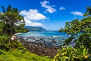 Hideaways Beach and the Na Pali Coast, Island of Kauai, Hawaii USA