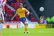 Krystian Bielik of Charlton Athletic (4) passes the ball during the EFL Sky Bet League 1 play off first leg match between Doncaster Rovers and Charlton Athletic at the Keepmoat Stadium, Doncaster, England on 12 May 2019.