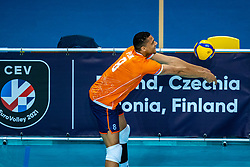 Fabian Plak of Netherlandsin action during the CEV Eurovolley 2021 Qualifiers between Sweden and Netherlands at Topsporthall Omnisport on May 14, 2021 in Apeldoorn, Netherlands
