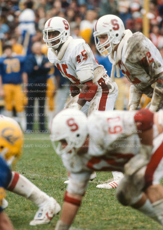 COLLEGE FOOTBALL:  Stanford vs Cal in the 74th annual Big Game played on November 22, 1980 at Memorial Stadium in Berkeley, California  Vaughn Williams #45, Craig Zellmer #52, Doug Rogers #60.  Photography by David Madison   www.davidmadison.com