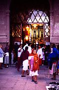 Candlelit religious procession La Parroquia church, San Migeul de Allende, Mexico  1990