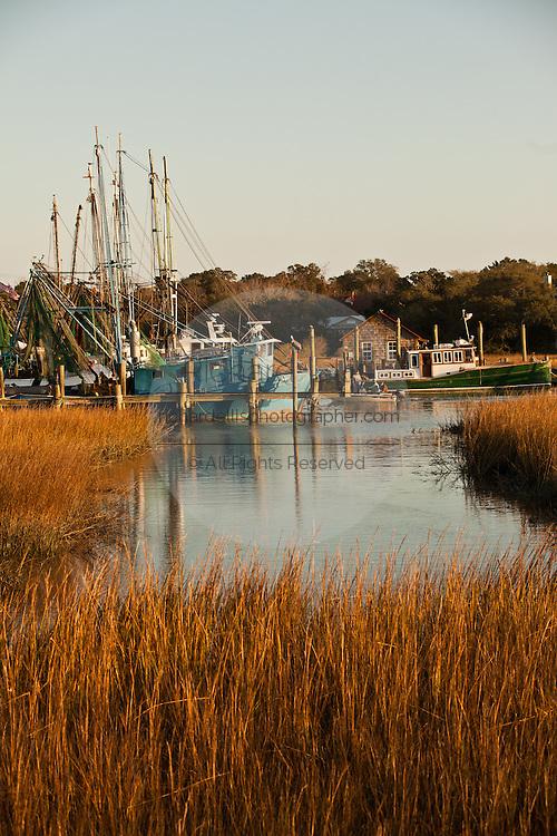 Shrimp boats docked in Shem Creek, Mt Pleasant, SC across the harbor from Charleston.