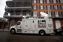 28 August 2012. New Orleans, Louisiana,  USA. <br /> Fox News parks just off Bourbon Street in the French Quarter as the media descends on the city to cover Hurricane Isaac. The 7th year anniversary of Hurricane Katrina is tomorrow and with a storm lurking in the Gulf many have evacuated as an uneasy calm settles over New Orleans.<br /> Photo; Charlie Varley