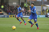 AFC Wimbledon midfielder Tom Soares (19) chasing after the ball during the EFL Sky Bet League 1 match between AFC Wimbledon and Northampton Town at the Cherry Red Records Stadium, Kingston, England on 10 February 2018. Picture by Matthew Redman.