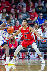 NORMAL, IL - February 22: Zach Copeland defends D.J. Wilkins during a college basketball game between the ISU Redbirds and the Drake Bulldogs on February 22 2020 at Redbird Arena in Normal, IL. (Photo by Alan Look)