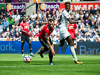 Football - 2017 / 2018 Premier League - Swansea City vs. Manchester United<br /> <br /> Tammy Abraham of Swansea City fails to connect in front of  goal—<br /> , at Liberty Stadium.<br /> <br /> COLORSPORT/WINSTON BYNORTH