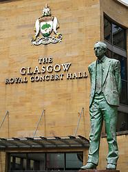 View of statue of Donald Dewar on Buchanan Street the main pedestrian shopping street in Glasgow, Scotland, UK