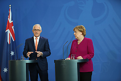 April 23, 2018 - Berlin, Berlin, Germany - Chancellor Angela Merkel receives Australian Prime Minister Malcoln Turnbull at the Chancellery. Dinner exchanges will focus on bilateral relations, as well as regional, global and economic issues, such as the EU-Australia Free Trade Agreement. Before the conversation, there are press statements. The picture shows Angela Merkel and Malcolm Turnbull. (Credit Image: © Simone Kuhlmey/Pacific Press via ZUMA Wire)