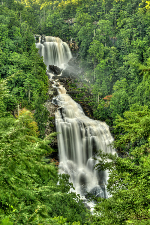 Upper Whitewater Falls, viewable from a scenic overlook along Highway 281, is a 411' tall waterfall near Cashiers, NC on Wednesday, August 17, 2016. Copyright 2016 Jason Barnette