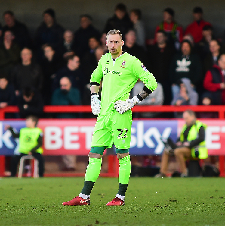 Lincoln City's Ryan Allsop<br /> <br /> Photographer Andrew Vaughan/CameraSport<br /> <br /> The EFL Sky Bet League Two - Crawley Town v Lincoln City - Saturday 17th February 2018 - Broadfield Stadium - Crawley<br /> <br /> World Copyright © 2018 CameraSport. All rights reserved. 43 Linden Ave. Countesthorpe. Leicester. England. LE8 5PG - Tel: +44 (0) 116 277 4147 - admin@camerasport.com - www.camerasport.com