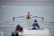 """Glasgow, Scotland, """"2nd August 2018"""", Norway's Single Sculler, NOR M1X, Kjetil BORCH, moving away from the start of his heat of the Single Sculls, European Games, Rowing, Strathclyde Park, North Lanarkshire, © Peter SPURRIER/Alamy Live News"""