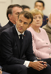 """Emmanuel Macron (French President) - Side event organized by the Japanese Prime Minister, on the theme """"Promoting the place of women at work"""" at the Intex Osaka congress center at the G20 summit in Osaka, Japan, on June 29, 2019. Photo by Dominque Jacovides/Pool/ABACAPRESS.COM"""