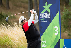 Gleneagles, Scotland, UK; 10 August, 2018.  Day three of European Championships 2018 competition at Gleneagles. Men's and Women's Team Championships Round Robin Group Stage. Four Ball Match Play format.  Pictured; Laura Davies of Great Britain tees off on the 3rd hole in match against Belgium.