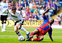 Photo: Alan Crowhurst.<br />Crystal Palace v Derby County. Coca Cola Championship. 29/04/2007. Derby's David Jones (L) challenges with Clinton Morrison.