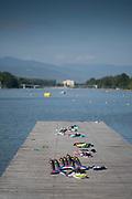Plovdiv BULGARIA. 2017 FISA. Rowing World U23 Championships. <br /> <br /> Wednesday. AM, general Views, Course, Boat Area. Boating Finger.<br /> 08:50:37  Wednesday  19.07.17   <br /> <br /> [Mandatory Credit. Peter SPURRIER/Intersport Images].