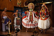 A Kathakali performance on 15th November 2009 in Fort Kochin, Kerala, India. Kathakali is a major form of Indian dance which involves the dancers enacting a story wearing elaborate make-up, costumes and masks, where the men also play the women. It is a Hindu performance that comes from the state of Kerala in southern India.