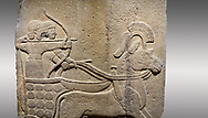 Picture & image of Hittite relief sculpted orthostat stone panel of Long Wall. Close up of Chariot. Karkamıs, (Kargamıs), Carchemish (Karkemish). Anatolian Civilisations Museum. .<br />  <br /> If you prefer to buy from our ALAMY STOCK LIBRARY page at https://www.alamy.com/portfolio/paul-williams-funkystock/hittite-art-antiquities.html  - Type  Karkamıs in LOWER SEARCH WITHIN GALLERY box. Refine search by adding background colour, place, museum etc.<br /> <br /> Visit our HITTITE PHOTO COLLECTIONS for more photos to download or buy as wall art prints https://funkystock.photoshelter.com/gallery-collection/The-Hittites-Art-Artefacts-Antiquities-Historic-Sites-Pictures-Images-of/C0000NUBSMhSc3Oo