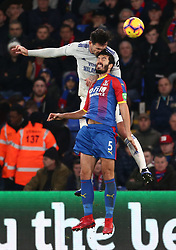 Cardiff City's Sean Morrison and Crystal Palace's James Tomkins battle for the ball in the air, during the Premier League match at Selhurst Park, south east London.