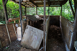 Sipson, UK. 5th June, 2018. An area for recycling human waste and sawdust is pictured at Grow Heathrow. Grow Heathrow is a squatted off-grid eco-community garden founded in 2010 on a previously derelict site close to Heathrow airport to rally support against government plans for a third runway and it has since made a significant educational and spiritual contribution to life in the Heathrow villages, which remain threatened by Heathrow airport expansion.