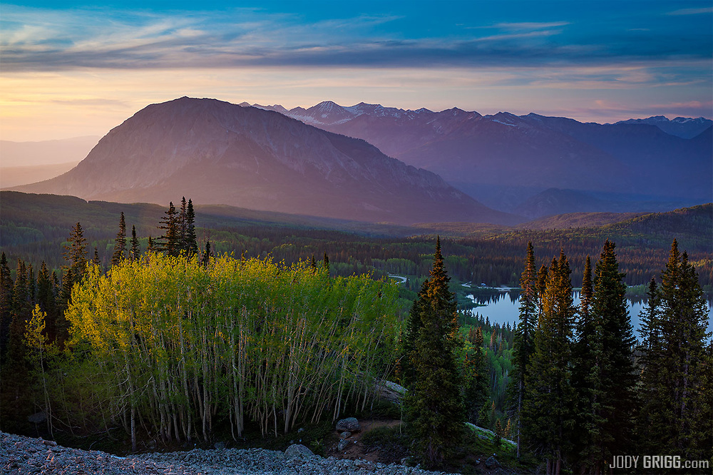 The summer for photography is now upon us, this is a shot from this past Saturday evening above Lost Lake Slough off Kebler Pass in the Gunnison National Forest. The large mound of a peak is Marcellina Mountain, if you don't get chance to drive Kebler Pass in the summer, put it on your to do list for the last week of September first week of October; it will put not disappoint.