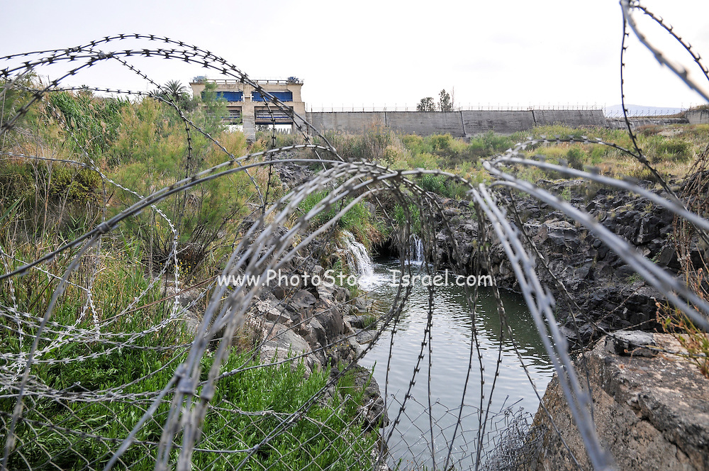 The Israeli Jordanian Border Photographed at Naharaim on the Jordan River barbed wire security fence