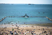 People gather and play on the beach of Saint Malo, Bretagne, France.<br /> <br /> © Giorgio Perottino