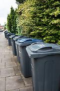 Birmingham City Council recycling wheelie bins in Moseley in Birmingham, England, United Kingdom.