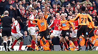 Photo. Daniel Hambury, Digitalsport<br /> Arsenal v Sheffield United. <br /> FA Cup Fifth Round.<br /> 19/2/2005.<br /> Sheffield United's Danny Cullip appeals for a penalty which was given.