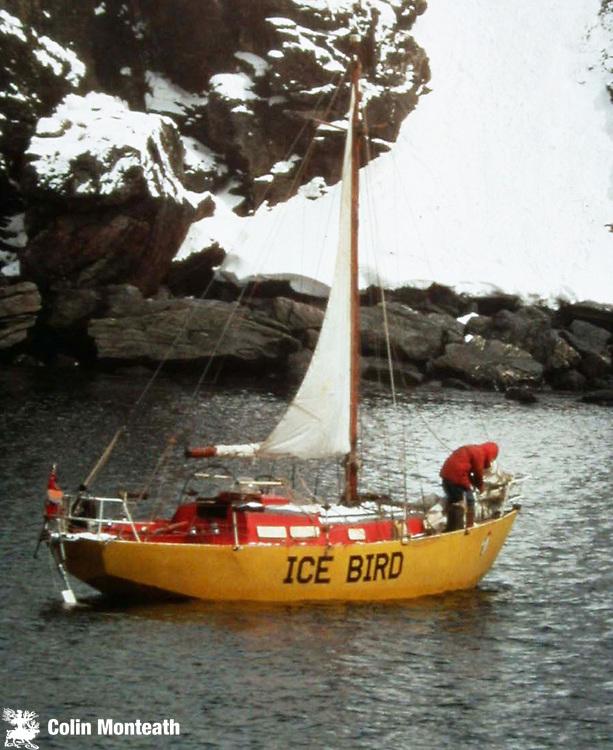David Lewis & Icebird reach Signy, BAS base, Sth Orkneys, 1971 Photo Paul Broady