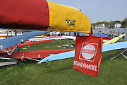Berlin GERMANY. Covered boat on its trailer with warning flag .    Berlin Grunau Spring Regatta Course.  [Berliner Fruh-Regatta 2010 Berlin-Grunau.].  Saturday  24/04/2010  [Mandatory Credit. Peter Spurrier/Intersport Images].