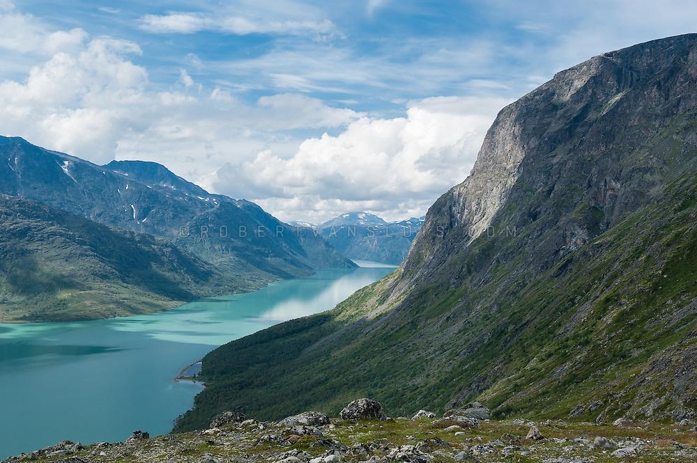 View over Gjende lake, Jotunheimen National Park, Norway