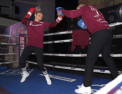 Shannon Courtenay (left) during a public workout at the Grand Central Hall, Liverpool. Picture date: Wednesday October 6, 2021.
