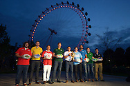 From left to right rugby legends Adam Jones of Wales, James Horwill of Australia, Andrew, Yasutaro Matsuki of Japan, Bob Skinstad of South Africa, Jason Robinson of England, Gonzalo Camacho of Argentina, Marco Bortolami of Italy, Gordon D'Arcy of Ireland, and Andrew Mehrtens of New Zealand pose with the Web Ellis Trophy. RWC 2015, Coca Cola London Eye launch for the Rugby World cup event  in London on Tuesday 15th Sept  2015.<br /> pic by John Patrick Fletcher, Andrew Orchard sports photography.