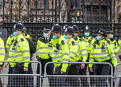 © Licensed to London News Pictures. 11/11/2020. London, UK. A large police presence around Parliament Square, Westminster on Armistice Day as the centenary of the Unknown Warrior will be commemorated at a service at Westminster Abbey. Prince Charles and the Duchess of Cornwall along with members of the Government and armed forces are expected to attend. At 11am a two minute silence will be held throughout the UK to mark the end of the 1st World War. Photo credit: Alex Lentati/LNP