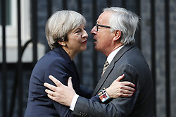 April 26, 2017 - London, London, UK - London, UK. UK Prime Minister THERESA MAY welcomes Head of the European Commission, President JEAN-CLAUDE JUNCKER to No10 Downing Street in London on 26 April 2017. (Credit Image: © Tolga Akmen/London News Pictures via ZUMA Wire)