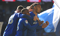 CELE - Cardiff City's Kenneth Zohore celebrates scoring the opening goal <br /> <br /> Photographer Ashley Crowden/CameraSport<br /> <br /> The EFL Sky Bet Championship - Cardiff City v Bristol City - Sunday 25th February 2018 - Cardiff City Stadium - Cardiff<br /> <br /> World Copyright © 2018 CameraSport. All rights reserved. 43 Linden Ave. Countesthorpe. Leicester. England. LE8 5PG - Tel: +44 (0) 116 277 4147 - admin@camerasport.com - www.camerasport.com