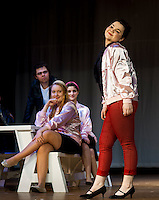 """Rizzo (Hannah Smith) mocks """"Look At Me, I'm Sandra Dee"""" during dress rehearsal for """"Grease"""" at Winnisquam Regional High School Thursday afternoon.   (Karen Bobotas/for the Laconia Daily Sun)"""