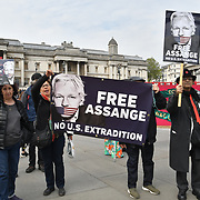 London, UK. 1st May, 2019.  Free Julian Assange demonstration at The annual May Day rally in Trafalgar Square on May 1st, 2019 in London.