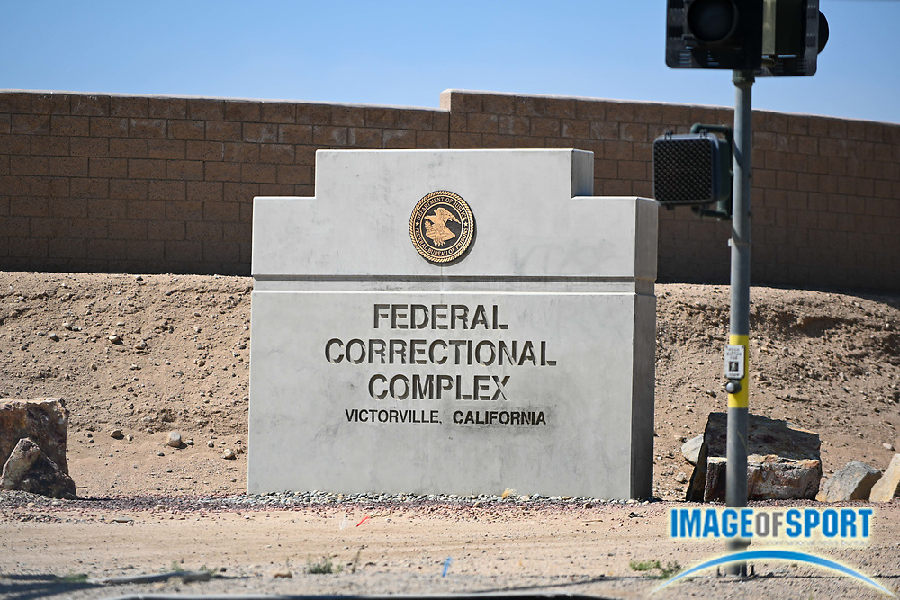 Detailed view of signage at the Federal Correctional Complex, Victorville on Monday, Sept. 21, 2020, in Victorville, Calif. (Dylan Stewart/Image of Sport)