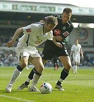 Photo: Aidan Ellis.<br /> Leeds United v Plymouth Argyle. Coca Cola Championship. 07/04/2007.<br /> leeds Richard Creswell (L) holds off Plymouth's Kriztian Timar