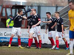 Falkirk's Darren Dods (4) cele scoring their first goal..Falkirk 4 v 0 Cowdenbeath, 6/4/2013..©Michael Schofield..