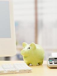 Dec. 14, 2012 - Piggy bank on a desk (Credit Image: © Image Source/ZUMAPRESS.com)