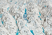 Detail of water-filled crevasses at Columbia Glacier, Alaska.