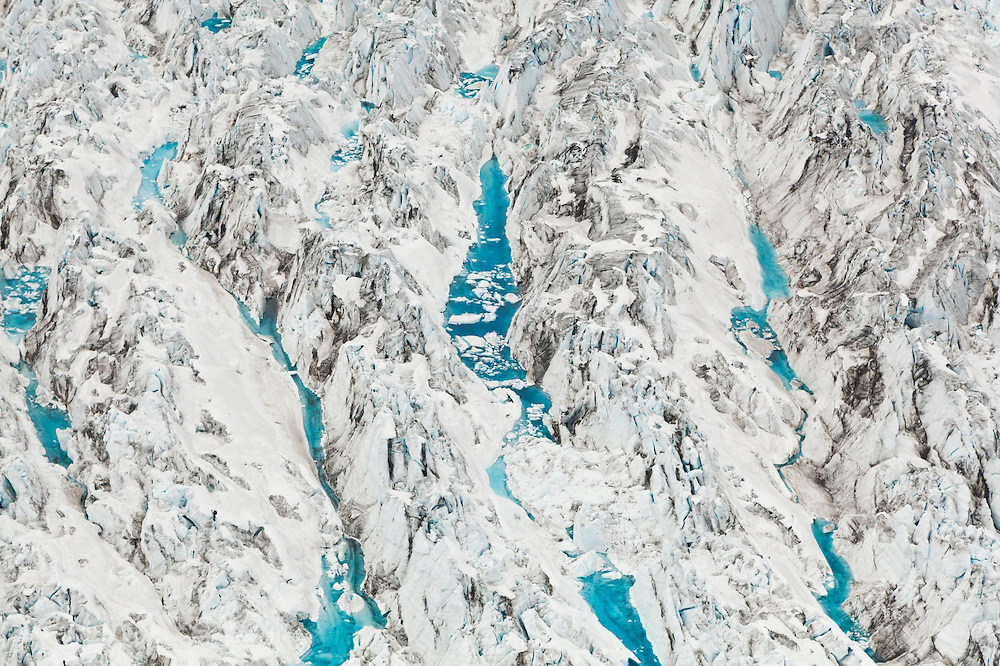 Detail of water-filled crevasses at Columbia Glacier, Alaska.