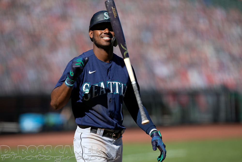 Seattle Mariners' Kyle Lewis (1) flips the bat after striking out against the San Francisco Giants during the seventh inning of a Major League Baseball game, Thursday, Sept. 17, 2020 in San Francisco. The Giants defeated the Mariners 6-4. This is a makeup of a postponed game from Wednesday in Seattle. (AP Photo/D. Ross Cameron)