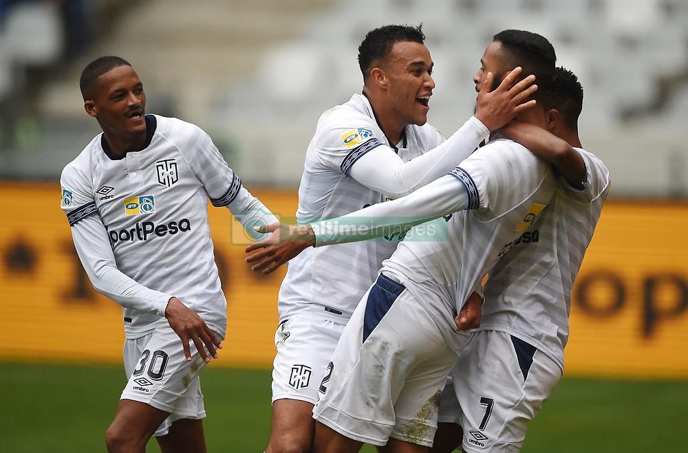 Cape Town-180825- Cape Town City defender Taariq Fielies celebrates his goal that won the first leg of the MTN 8 semi-final against  Mamelodi Sundownsl at Cape Town Stadum.Photographer :Phando Jikelo/African News Agency/ANA