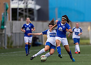 Lauren Jordinson (Durham Womens FC) tackles Gabrielle George (Everton Ladies) during the FA Women's Super League match between Durham Women FC and Everton Ladies at New Ferens Park, Belmont, United Kingdom on 30 August 2015. Photo by George Ledger.
